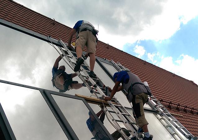 Sonnenschutzfolie auf Dachverglasung