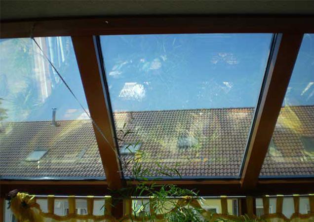 Sonnenschutzfolie auf Schrägverglasung Privat in Rottweil